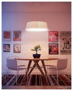 sala de jantar, madeira, branco, tijolinhos, mesa redonda, posters