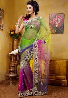 Multi color Net Saree