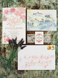 Floral and travel themed wedding invitations: http://www.stylemepretty.com/2015/01/09/pastel-spring-wedding-at-dos-pueblos-ranch/ | Photography: Pat Moyer - http://patmoyerweddings.com/