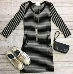 Steppin' Out in Stripes Dress: Black from privityboutique