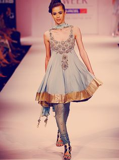 anarkali fashion baby blue and gold- for more follow my Indian Fashion boards :)
