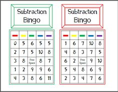 Subtraction Bingo. Only 6 different boards, but would be good for a small group either student or adult led. Math Bingo, Fun Math Games, Math Math, Maths, 1st Grade Math, Kindergarten Math, Third Grade, Math Courses, Adding And Subtracting