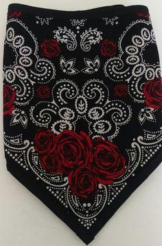 Rose print w/black flannel backing Biker Bandanas, Biker Bar, Bandana Scarf, Red And White, Black, Alexander Mcqueen Scarf, Red Roses, Flannel, Scarfs