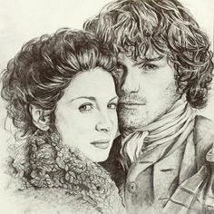 Claire & Jamie pencil sketch by mopotter167 (Instagram) #fanart
