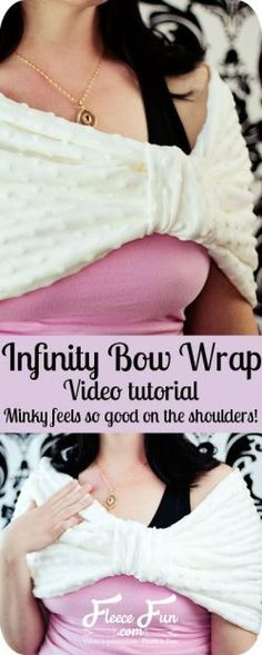 Perfect for keeping ymy shoulders warm.  And minky feels soooo good! Bow Infinity Wrap I www.fleecefun.com