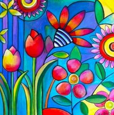 her work as whimsical pop art always using vibrant colors and happyRainbow Colours is the mostly Beautiful & Colourfull Colours in this world already.Wild Flowers by Carla BankI like it Barry pretty flowers and roses zEntAgle pEn ovEr pAint dEtAiling. Silk Painting, Hand Painting Art, Painting & Drawing, Art Pop, Wal Art, Art Furniture, Painted Furniture, Naive Art, Whimsical Art