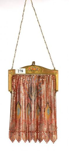"7 1/2"" X 5"" WHITING & DAVIS COIN MESH EVENING BAG"