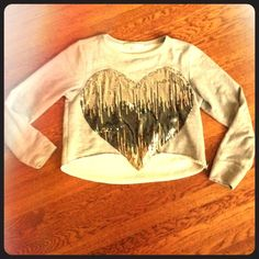 Laugh Cry Repeat Gray Heart Sequin Sweatshirt Super comfy and chic at the same time. Grey slightly cropped sweatshirt with sequin heart lightly worn but in great condition! Just not my style anymore. Laugh Cry Repeat Tops Sweatshirts & Hoodies