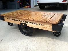 railroad industrial cart coffee or cocktail table from harpgallery