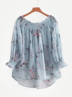 To find out about the Botanical Print High Low Chiffon Blouse at SHEIN IN, part of our latestBlouses ready to shop online today! Girls Fashion Clothes, Girl Fashion, Fashion Dresses, Designer Kurtis, Top Chic, Stylish Dresses For Girls, Girls Dresses Sewing, Fancy Tops, Frock Design