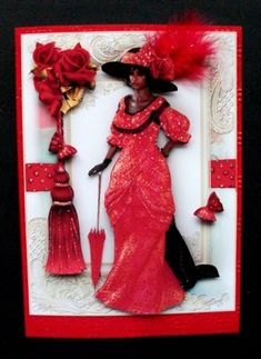 Ethnic Edwardian Lady In Red Topper - Photo by Jayes Crafted Cards by Jennifer Glitter Cards, Red Glitter, A5, I Card, Lady In Red, Ethnic, Card Making, Prints, Handmade