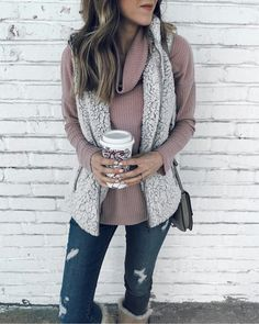 mauve sweater with light grey fleece fuzzy and ripped jeans fall winter fashion