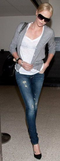 Charlize Theron - love her casual style.