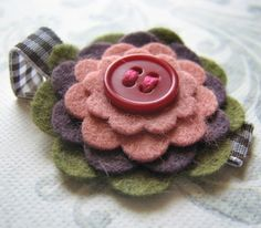 LILY  Wool Felt and Button Hair Clip by Berkleysclippies on Etsy, $7.50