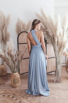 Long Dress Sky Blue — We Are Flowergirls Bridesmaid Outfit, Bridesmaids, Drapery Wedding, Ibiza Wedding, Convertible Dress, Long Jumpsuits, Jumpsuit Dress, Slow Fashion, Wedding Season