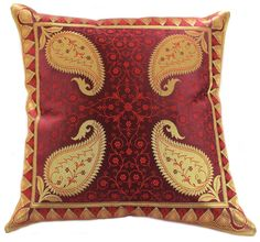 """Unique and decorative saffron red #pillow cover. Floral and shiny design made in India. 16"""" inches"""