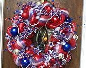 Patriotic Wreath that boldly proclaims AMERICA. $79.00, via Etsy.