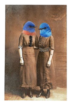 Bluebird Sisters | Cut & paste collage (paper and lace fragm… | Flickr