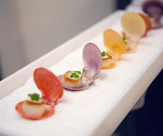 A single scallop is placed in a colored clam shell for a beautiful beach wedding. Created by Peter Callahan Catering