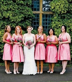 I like the thought of pink bridesmaid dresses.but I would want like silver highlights not dark pink. Always A Bridesmaid, Wedding Bridesmaid Dresses, Wedding Poses, Wedding Attire, Wedding Ideas, Bridesmaids And Groomsmen, Pink Bridesmaids, Dream Wedding, Wedding Things