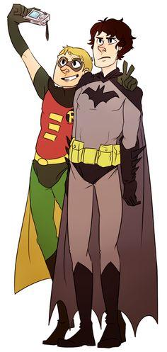 Sherlock and John as Batman & Robin for Halloween.