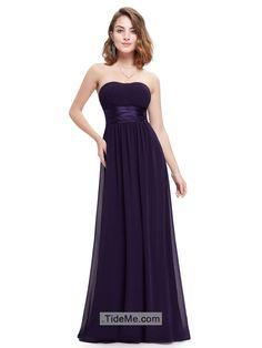 Scoop Neck Empire Waist Sheath Cheap Chiffon Long Bridesmaid Dress Prom Dress