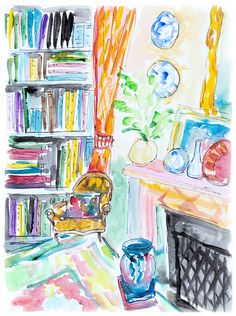 For books lovers. Study room painting. Book art. Bookshelf painting. Home decor Reading spot. Cozy wall decor. Original watercolour painting