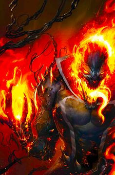 Comic Book Covers, Comic Books Art, Comic Art, Fantasy Character Design, Character Art, Ghost Rider Wallpaper, Eagle Wallpaper, Symbiotes Marvel, Spirit Of Vengeance