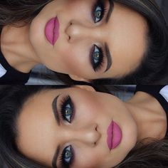 pink lips, bold eyes