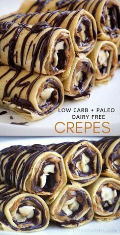 paleo low carb crepes are grain free, dairy free, sweetened with delicious chocolate and nut butter filling. Treat yourself with a sweet breakfast or dessert that won't mess up your gluten free, low carb diet. Crepes Sin Gluten, Low Carb Crepes, Desserts Keto, Keto Friendly Desserts, Dessert Recipes, Dinner Recipes, Easter Recipes, Keto Vegan, Paleo Dairy