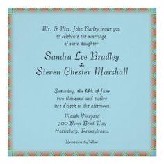 """Aztec Blue Wedding Invitation 5.25"""" Square Invitation Card"""