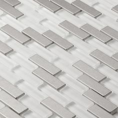 Martini Mosaic Aria Steel Ice Stainless Steel and Frosted Ice 12x12-inch Tile Sheets (Set of 7)