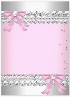 Pink & Silver with diamond boarder, diamonds and 2 diamond center bows - uploaded by Lynn White
