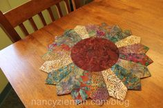 Sew a fast and festive sunflower table topper using fabric scraps and Clover's Trace 'n Create Quilt Template—Dresden Collection. In as little as an afternoon, you'll update your décor . Dresden Plate Patterns, Table Topper Patterns, Dresden Plate Quilts, Quilted Table Toppers, Table Runner Pattern, Quilt Patterns, Cotton Quilting Fabric, Fabric Scraps, Chenille Fabric