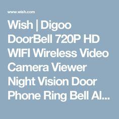 Wish | Digoo DoorBell 720P HD WIFI Wireless Video Camera Viewer Night Vision Door Phone Ring Bell Alarm Smart Home Security System (Storlek: Type1)