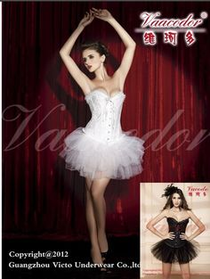 $24 New White Diamond Corset Dress Bustiers TUTU Costumes Lingerie 8819+7018 | eBay