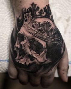 Best Skull Tattoos On Hand — Hand Tattoos Design Skull Rose Tattoos, Skull Hand Tattoo, Rose Hand Tattoo, Hand Tats, Skull Tattoo Design, Tattoo Designs, Badass Tattoos, Life Tattoos, Body Art Tattoos