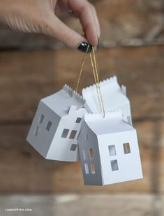 DIY Paper House Christmas Tree Ornament More ornaments DIY Paper House Christmas Ornament Cardboard Christmas Tree, Paper Christmas Ornaments, Homemade Christmas Decorations, House Ornaments, Noel Christmas, Handmade Christmas, Ornaments Ideas, Ornaments Design, Simple Christmas