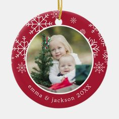 Snowflake Frame | Photo Ceramic Ornament - tap, personalize, buy right now! #CeramicOrnament #ad #holiday #christmas #year #photo