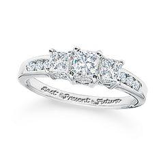 1 CT. T.W. Princess-Cut Diamond Three Stone Past Present Future Ring in 14K White Gold - Zales
