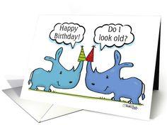 Happy Birthday- Rhino Humor-Rhinos with Party Hats card