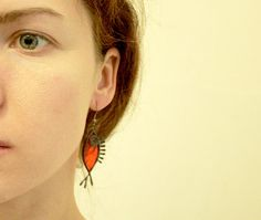 Bright red fish earrings stained glass sea jewelry by ArtKvarta