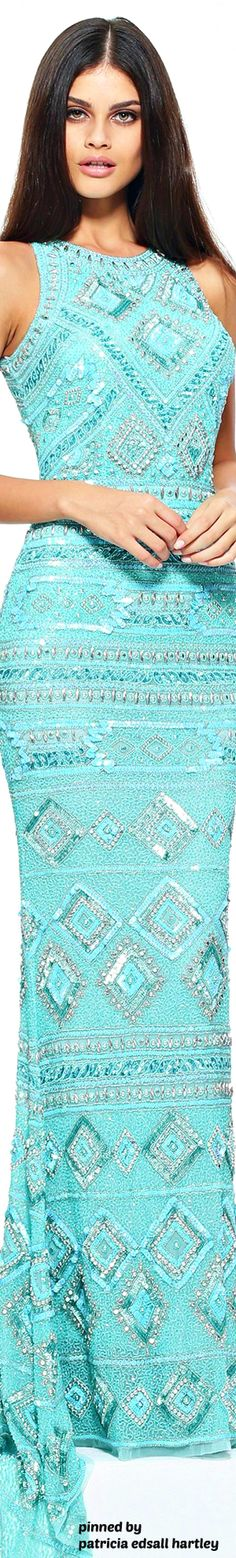 Turquoise | Aqua | fashion, embroidered, beaded dress | Sherri Hill Spring 2017