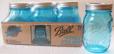 Vintage Style Blue BALL Mason Jars AMERICAN HERITAGE COLLECTION 6 Pint NEW #BALL