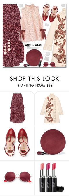 """Pink & burgundy"" by anne-irene ❤ liked on Polyvore featuring Ulla Johnson, Gucci, Diane Von Furstenberg, Ray-Ban, Laura Geller and Rebecca Minkoff"