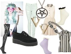 """""""Pastel Goth/ Grunge"""" by twisted-candy ❤ liked on Polyvore"""