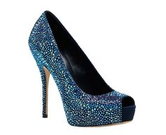The picture doesn't do it justice but the shoe is amazing !!  Gucci blue Swarovski crystal shoes