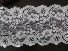 Beautiful Floral White Embroidery Stretch Lace Trim for Bridal, Bridesmaid Gloves, Lingerie, Women Headband or Costumes    This listing is for 2