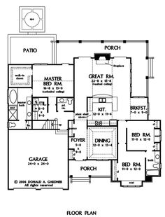 Great room, central kitchen, w/dining/library rm interesting layout.First Floor Plan of The Jenner - House Plan Number 1185 Garage House Plans, Craftsman Style House Plans, Garage Entry, Front Entry, Jenner House, Best Home Plans, Kardashian Home, Plan Front, Custom Home Designs
