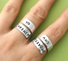 Fancy - To Infinity And Beyond Ring Set,Personalized Ring, Infinity Ring, Best Friends Gifts, Twist Ring, Wr on Luulla